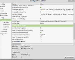 Screenshot of dconf editor